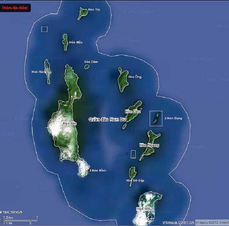 Bản đồ đảo Nam Du