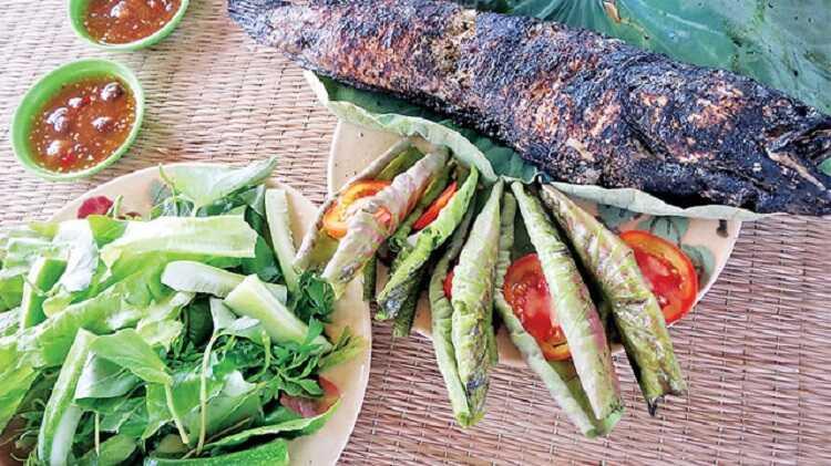 Món cá lóc nướng trui