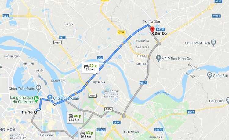 Đường đi và phương tiện di chuyển đến Đền Đô Bắc Ninh